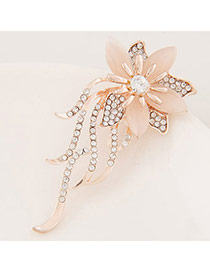 Sweet Gold Color Diamond Decorated Flower Shape Design  Alloy Korean Brooches