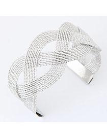 Fashion Silver Color Pure Color Weave Opening Design