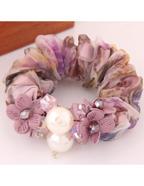 Fashion Purple Flower&pearl Decorated Simple Design  Lace Hair band hair hoop