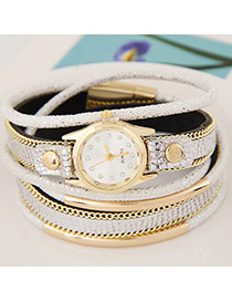 Temperamental White Metal Rivet&chain Decorated Multilayer Design Alloy Ladies Watches