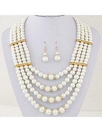 Fashion White Pearl Decorated Multilayer Design