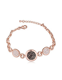 Luxurious Rose Gold+black Diamond Decorated Round Shape Design Alloy Crystal Bracelets