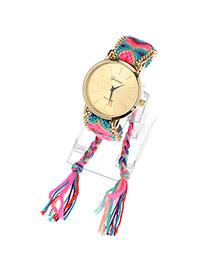 Ethnic Pink & Green Tassel Weave Simple Design Alloy Ladies Watches