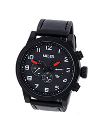Fashion Black Four Dial Decorated Sport Design