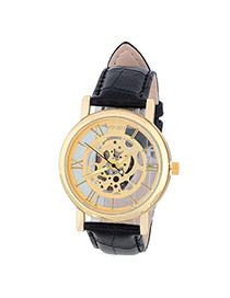 Bardian Black&gold Color Roman Numerals Decorated Hollow Out Design