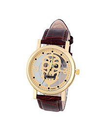 Bardian Coffee&gold Color Skull Pattern Decorated Hollow Out Design