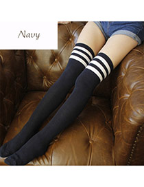 Classic Navy Blue+white Stripe Pattern Decorated Knee-high Design