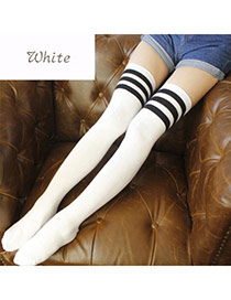 Classic White+black Stripe Pattern Decorated Knee-high Design  Cotton Fashion Socks
