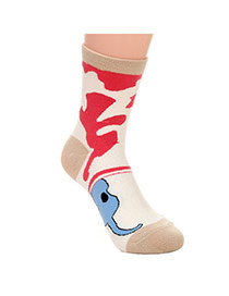 Lovely Khaki Thick Cat Pattern Decorated Simple Design  Cotton Fashion Socks