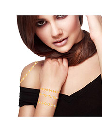 Personality Gold+silver Color Heart Pattern Flash Sheet Temporary Design Paper Tattoos body Art