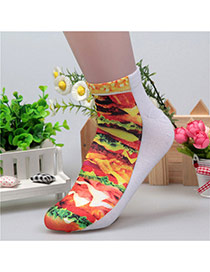 Retro Yellow+red Hamburg Pattern Decorated 3d Effect Design  Spandex Fashion Socks