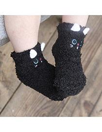 Lovely Black Cartoon Cat Pattern Decorated Simple Design For Kids  Coral Velvet Fashion Socks