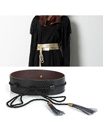 Fashion Black Tassel Pendant Decorated Snakeskin Design Pu Wide belts