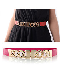 Fashion Plum Red Chains Decorated Simple Design  Alloy Thin belts