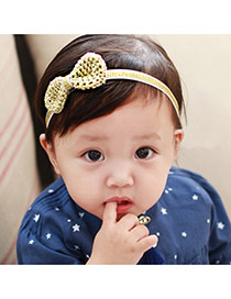 Cute Gold Color Bowknot Shape Decorated Simple Design Fabric Kids Accessories