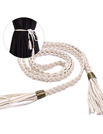 Fashion White Tassel Decorated Weave Design  Pu Thin belts