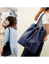Fashion Navy Blue Drawstring Design Dots Descendants Of The Sun