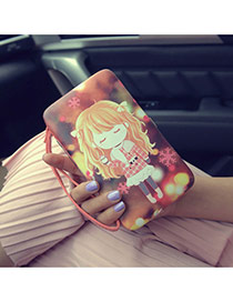 Fashion Red Cartoon Girl Pattern Decorated Square Shape Design Pu Wallet