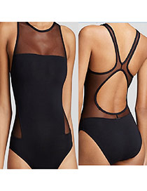 Sexy Black Mesh Decorated One Peice Design Chinlon Monokini