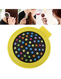 Fashion Yellow Color Matching Decorated Round Shape Folding Comb