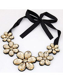 Elegant Gold Color Five Gemstone Flower Decorated Short Chain Necklace