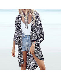 Fashion Black+blue Geometric Shape Pattern Decorated Short Sleeve Bikini Cover Up Smock