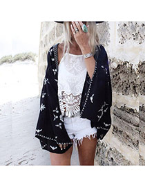 Fashion Black Snowflake Shape Pattern Decorated Loose Bikini Cover Up Smock
