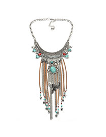 Vintage Silver Color Round Shape Pendant Decorated Double Layer Tassel Necklace