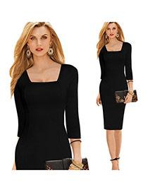 Fashion Black Pure Color Design Off Neckline Three Quarters Sleeve Slim Pencil Dress