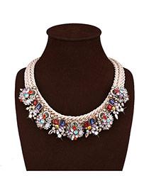 Delicate Multi-color Diamond Decorated Hand-woven Short Chain Necklace