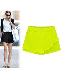 Fashion Yellow Pure Color Design Simple Design Bilayer Shorts