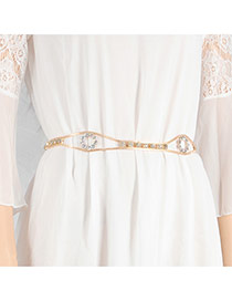 Elegant Gold Color Diamond Decorated Simple Design Hollow Out Waist Chain