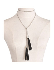 Trendy Black+silver Color Tassel Decorated Simple Design Long Chain Necklace