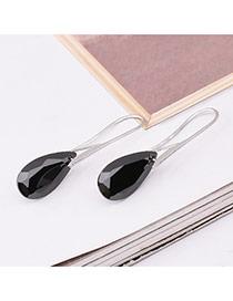 Elegant Black Water Drop Shape Diamond Decorated Simple Earrings