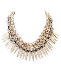 Personality White Leaf&diamond Decorated Hand-woven Short Chain Necklace